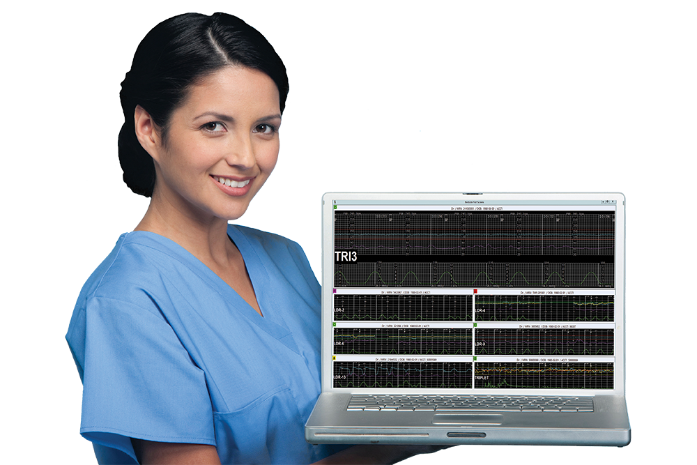 nurse holding laptop with display of obix system