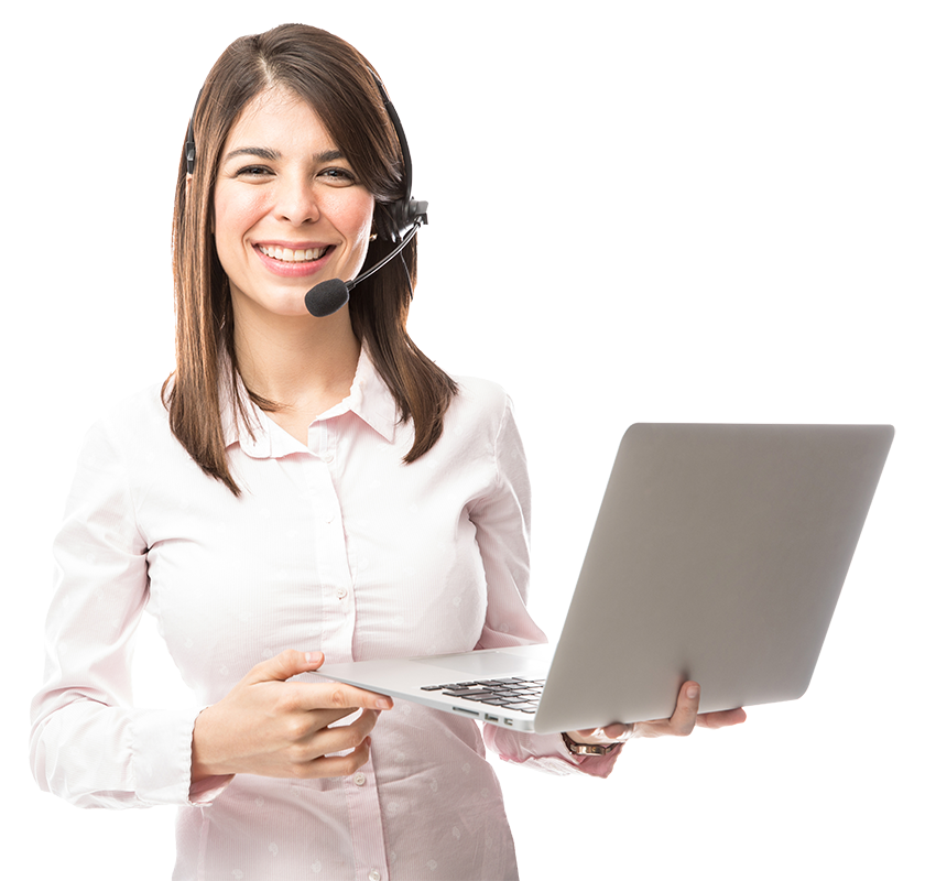 technical support lady with laptop
