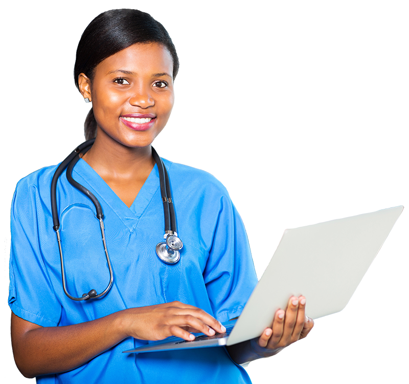 nurse holding laptop